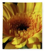 Yellow Gerbera Macro Fleece Blanket