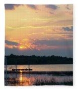 Yellow Gold Sunset Tapestry Fleece Blanket