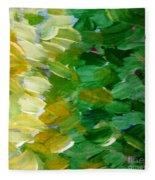 Yellow Green - Abstract Fleece Blanket