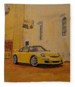 Yellow Gt3 Porsche Fleece Blanket