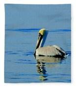 Yellow Headed Pelican Fleece Blanket