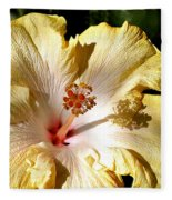 Yellow Hibiscus Fleece Blanket