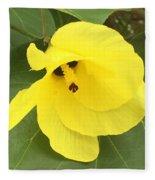 Yellow Hibiscus Fleece Blanket
