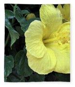 Yellow Hibiscus Watercolor Fleece Blanket