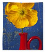 Yellow Iceland Poppy Red Pitcher Fleece Blanket