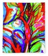 Yellow Iris Abstract Fleece Blanket