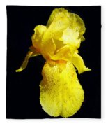Yellow Iris After The Rain Fleece Blanket