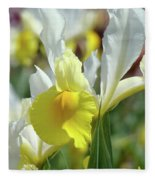 Yellow Irises Flowers Iris Flower Art Print Floral Botanical Art Baslee Troutman Fleece Blanket