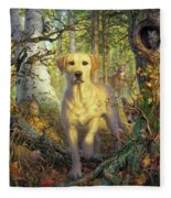 Yellow Lab In Fall Fleece Blanket