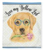 Yellow Lab-jp3869 Fleece Blanket