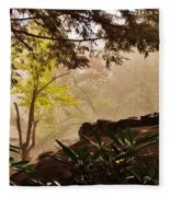 Yellow Leaves In The Mist Fleece Blanket