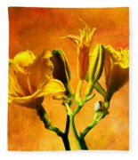Yellow Lilies Fleece Blanket