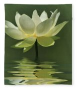 Yellow Lily With Reflections Fleece Blanket