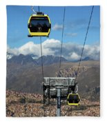 Yellow Line Cable Cars And Andes Mountains Bolivia Fleece Blanket