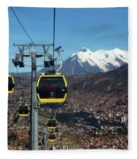 Yellow Line Cable Cars And Mt Illimani La Paz Bolivia Fleece Blanket