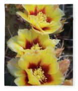 Yellow Long- Spined Prickly Pear Cactus  Fleece Blanket