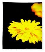Yellow Mum On Black Backround Fleece Blanket