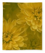 Yellow Mums Fleece Blanket