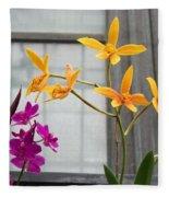Yellow Orange And Purple Flowers Fleece Blanket