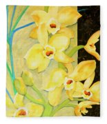 Yellow Orchids With Black Screen Fleece Blanket