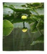 Yellow Pond Lily Fleece Blanket