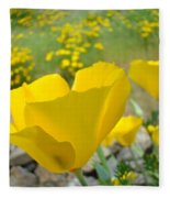 Yellow Poppy Flower Meadow Landscape Art Prints Baslee Troutman Fleece Blanket