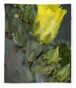 Yellow Prickly Pear Cactus Bloom Fleece Blanket