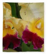Yellow Purple Orchids Fleece Blanket