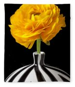 Yellow Ranunculus In Striped Vase Fleece Blanket