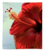 Yellow Red And Coral Hibiscus Profile Fleece Blanket