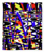 Yellow Red Blue Black And White Abstract Fleece Blanket