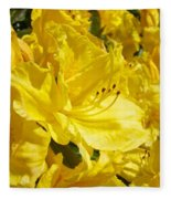 Yellow Rhodies Floral Brilliant Sunny Rhododendrons Baslee Troutman Fleece Blanket