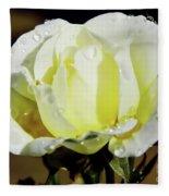 Yellow Rose Dew Drops Fleece Blanket