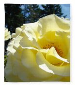 Yellow Rose Garden Landscape 3 Roses Art Prints Baslee Troutman Fleece Blanket