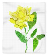 Yellow Rose, Painting Fleece Blanket