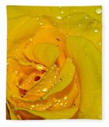 Yellow Rose With Droplets By Kaye Menner Fleece Blanket