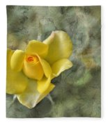 Yellow Rose With Old Marbel Texture Background Fleece Blanket