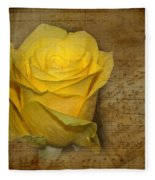 Yellow Rose With Old Notes Paper On The Background Fleece Blanket