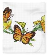 Yellow Roses And Monarch Butterflies Fleece Blanket