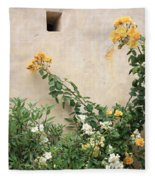 Yellow Roses And Tiny Window At Carmel Mission Fleece Blanket