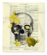 Skull With Yellow Roses Dictionary Art Print Fleece Blanket