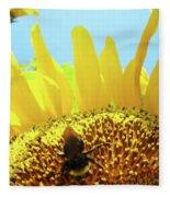 Yellow Sunflower Art Prints Bumble Bee Baslee Troutman Fleece Blanket