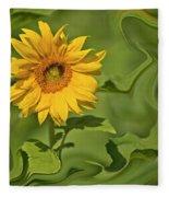 Yellow Sunflower On Green Background Fleece Blanket