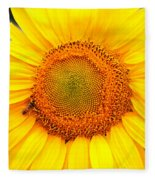 Yellow Sunflower With Bee Fleece Blanket