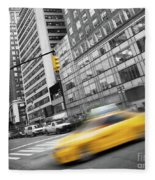 Yellow Taxi Nyc Fleece Blanket