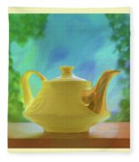 Yellow Teapot And Bowl Fleece Blanket