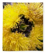 Yellow Tree Flower Fleece Blanket
