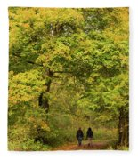 Yellow Trees In Fall Fleece Blanket