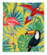 Yellow Tropic  Fleece Blanket