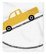 Yellow Truck On Road- Art By Linda Woods Fleece Blanket